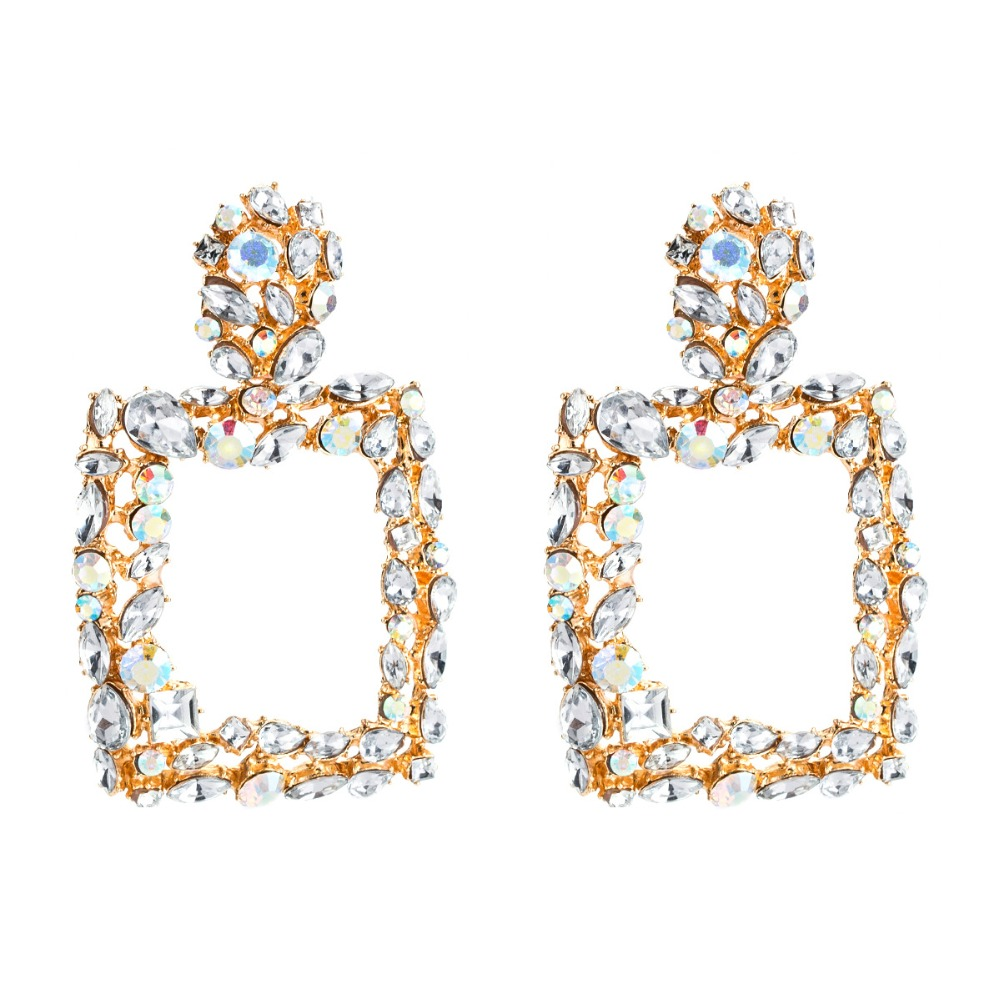 Luxury Square statement earrings for women rhinestone big earrings 2018 geometric earings fall fashion costume jewelry trendy pair of trendy rhinestone oval leaf earrings for women page 7