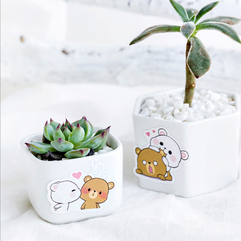 Купить с кэшбэком 45Pcs/box Cute bear Mini Paper Decoration DIY Scrapbook Notebook Album Sticker Stationery Kawaii Girl Sticker