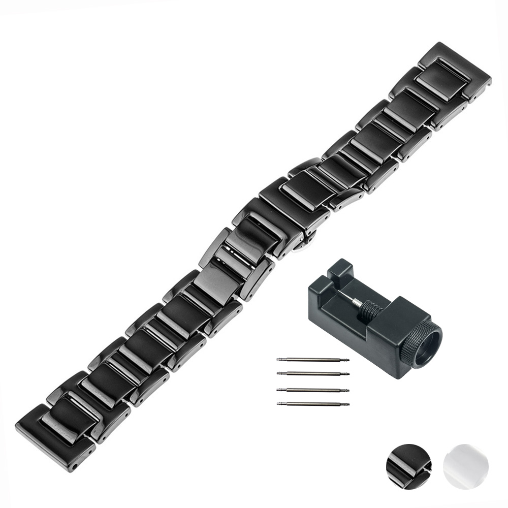 18mm 20mm Ceramic Watch Band for Armani Butterfly Buckle Strap Replacement Watchband Link Wrist Belt Bracelet