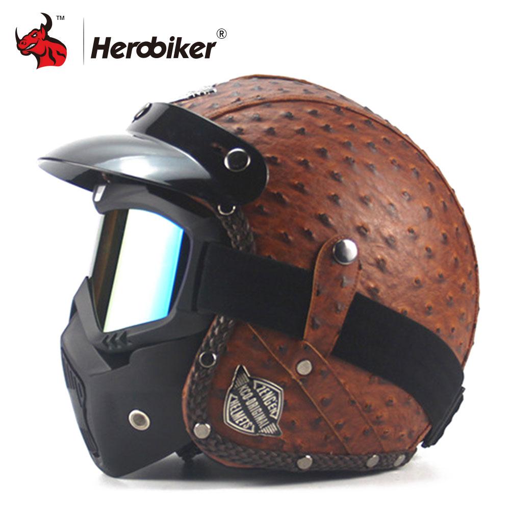 Nouveau Rétro Vintage Style Allemand Moto Casque 3/4 casque ouvert Scooter Chopper Cruiser Biker Moto Casque Lunettes Masque