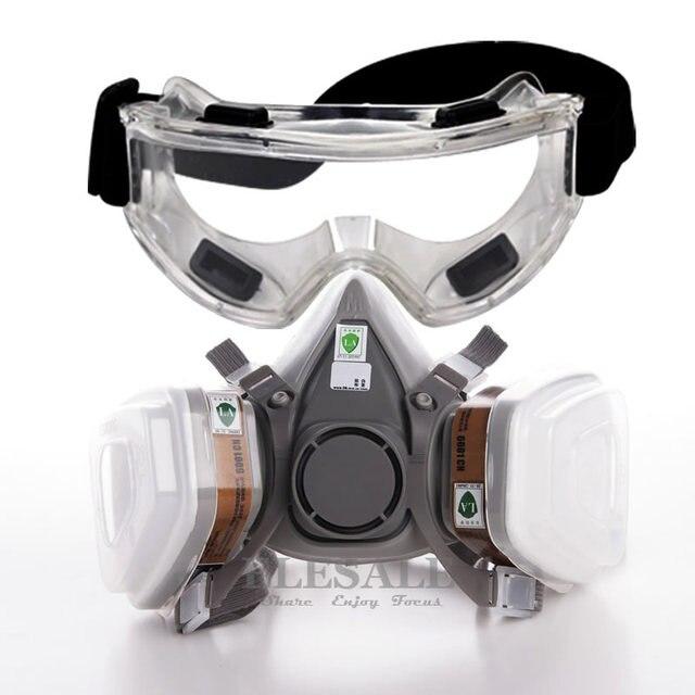 7 в 1 6200 пыли противогаз с защитные очки половина лицо респиратор газа для окраски и распыления органический пар газ двойной фильтры
