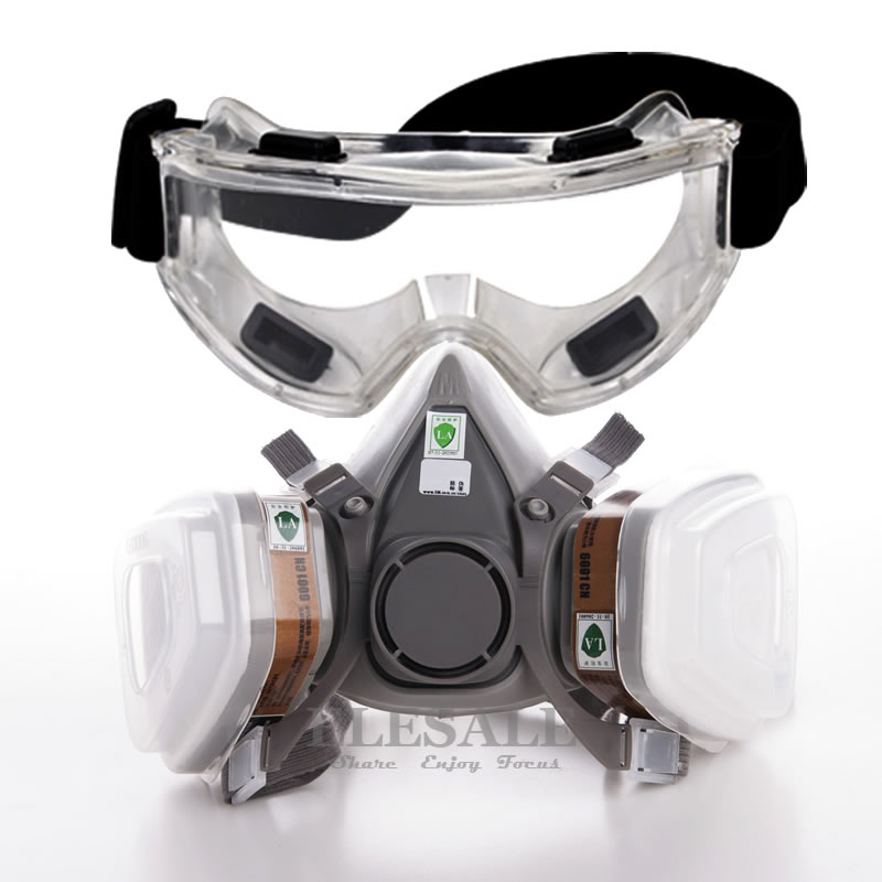 7-In-1 6200 Dust Gas Mask With Safety Glasses Half Face Gas Respirator For Painting Spraying Organic Vapor Gas Dual Filters