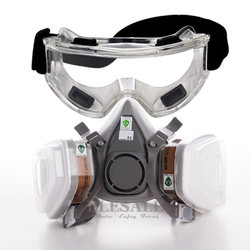 7-em-1 6200 máscara de gás de poeira com óculos de segurança meia cara respirador de gás para pintura pulverização de gás de vapor orgânico filtros duplos