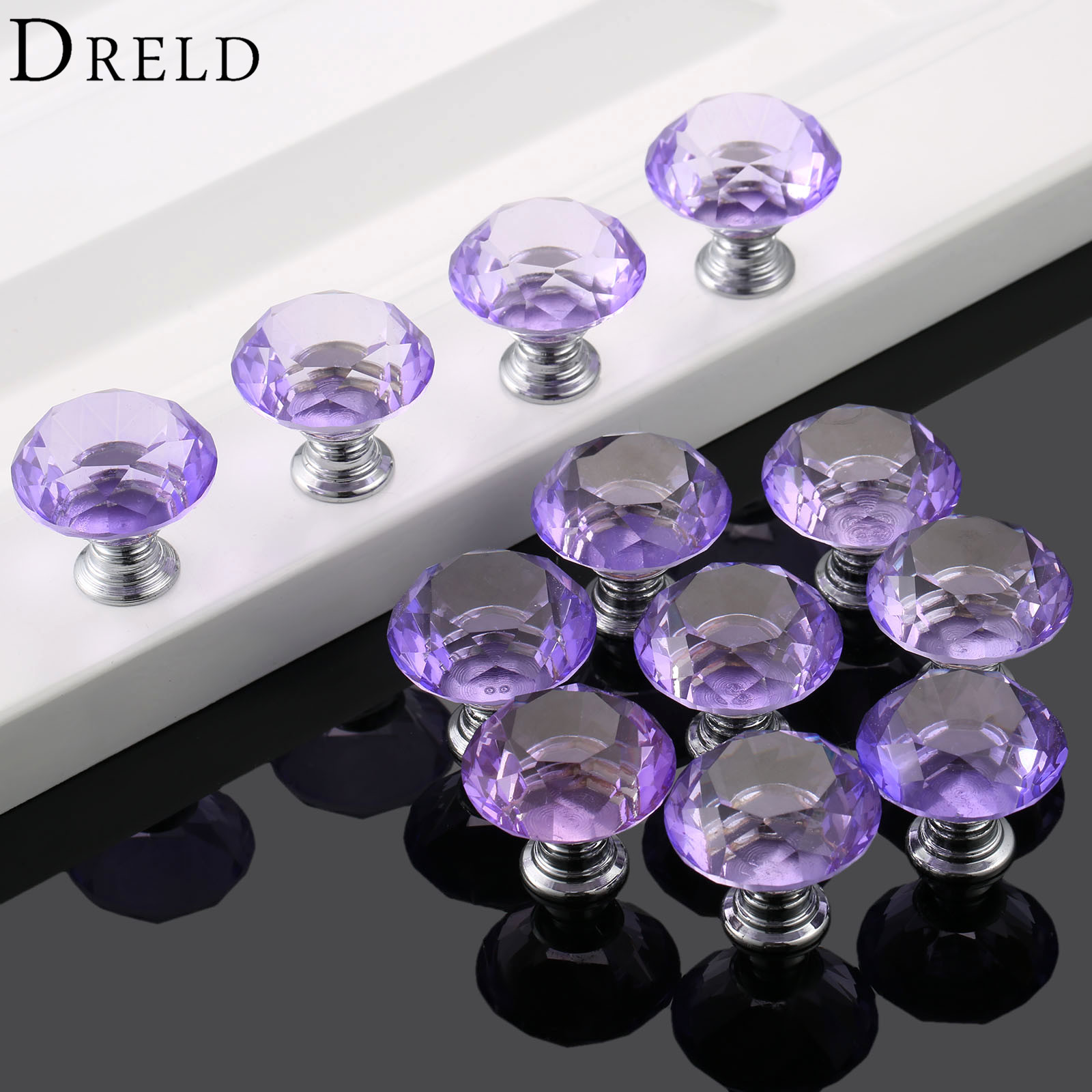 DRELD 12PCS 30mm Diamond Crystal Glass Purple Door Pull Handle Wardrobe Cabinet Knobs and Handles Kitchen Furniture Handles furniture drawer handles wardrobe door handle and knobs cabinet kitchen hardware pull gold silver long hole spacing c c 96 224mm