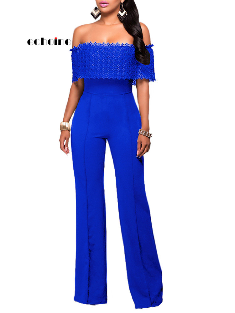 Echoine Women Jumpsuits Casual Side Zipper Slash Neck Long Sleeve Wide Leg Pants Slim Rompers Sexy Women's Outfit Streetwear