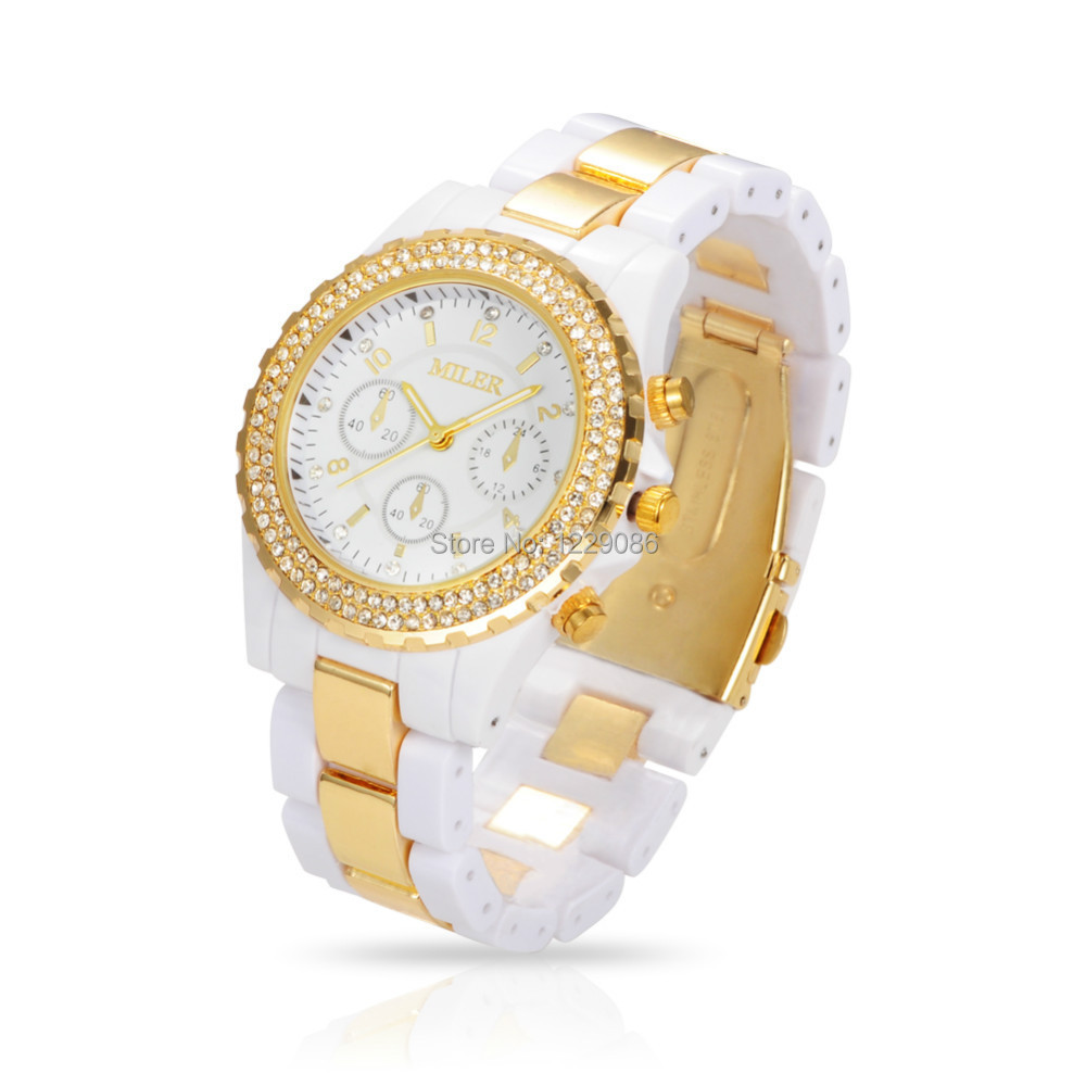 Prix pour Femmes Quartz Montres De Luxe Marque Strass Montres Unisexe Mode Casual Horloge Heures Relogio Feminino Reloj Noir/Blanc