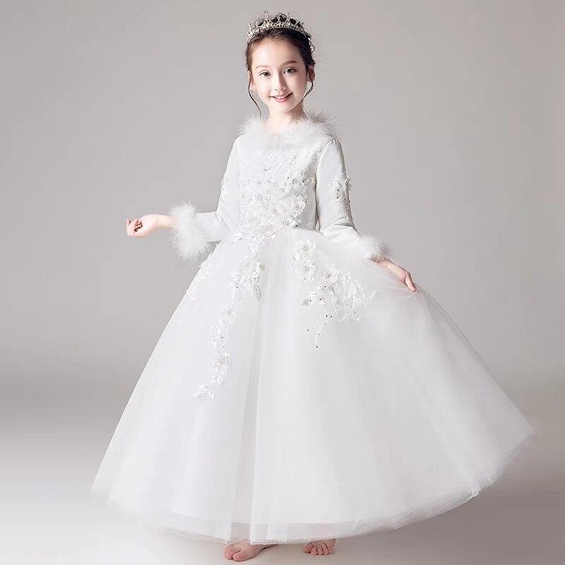 купить Children Girls Pure White Color Birthday Evening Party Appliques Flowers Ball Gown Dress Teens Kids Elegant Piano Host Dress недорого