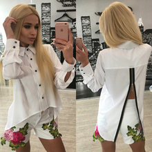 Women Long Sleeve Turn-Down Collar Shirts Fashion Back Splid Zipper Blouse Femme Autumn Tops Blouse