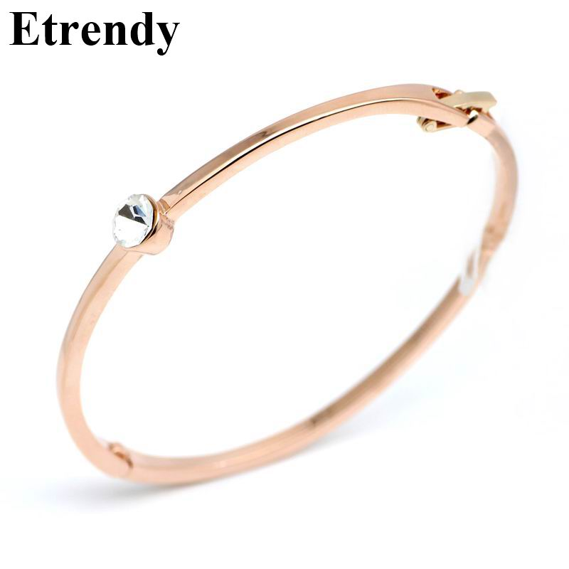 Rose gold color simple zircon bracelet women bijoux new fashion jewelry wholesale bracelets bangles fine quality