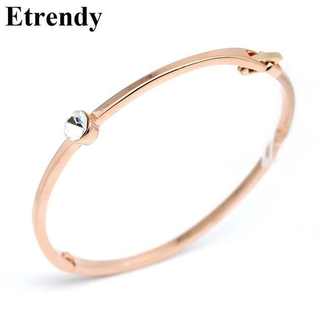 Rose gold color simple zircon bracelet women bijoux new fashion