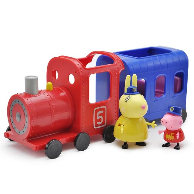 Peppa Pig Trem das Figuras de Ação PVC Brinquedos Boneca Senhorita Coelho  Aprendizagem Precoce Brinquedo Educativo