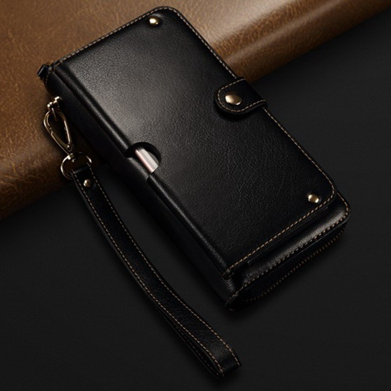 Genuine Leather Handbag Case For Samsung Galaxy S10 E A7 A9 2018 Wallet Pouch Universal Multipurpose Phone Bag Cases