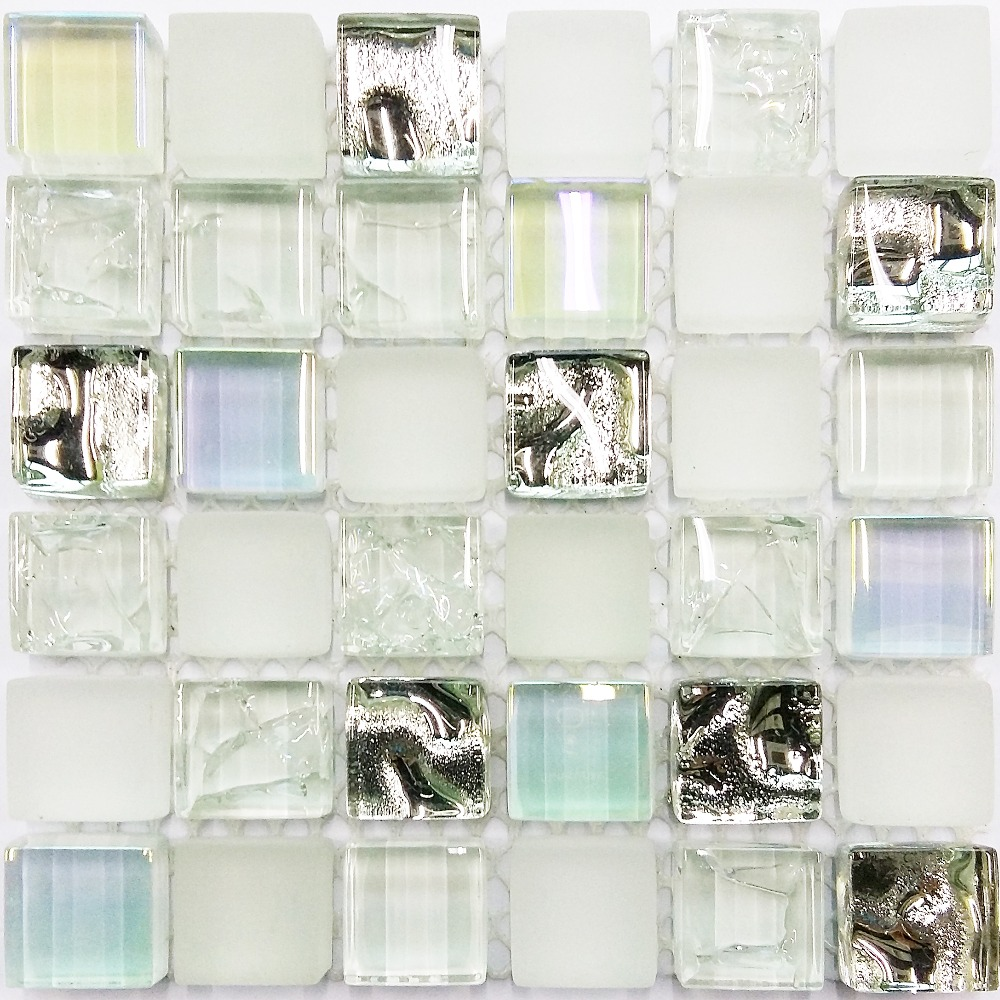 mosaic tile backsplash bathroom glass tile sample white iridescent aqua glass tile 19661