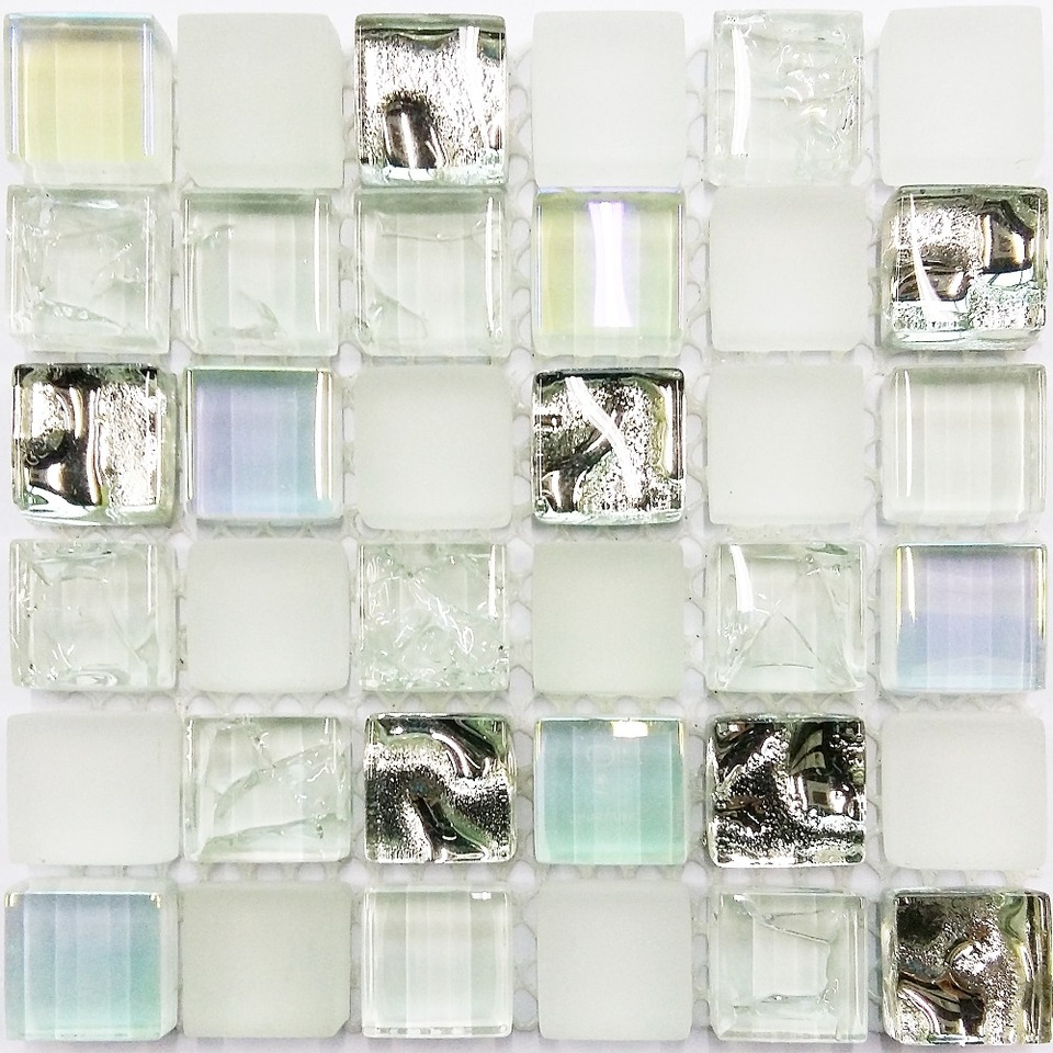 - GLASS TILE SAMPLE Ice White Iridescent Aqua Glass Tile Kitchen