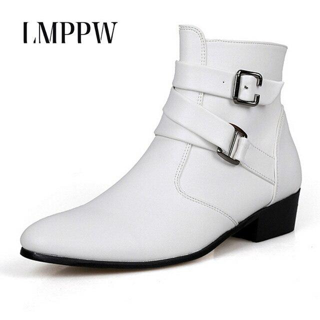 Britischen Stil Herbst Winter Männer Stiefel 2017 Mode Spitzen Schnalle  Stiefeletten Casual Echtem Leder Schuhe Weiß bf30dcbc57