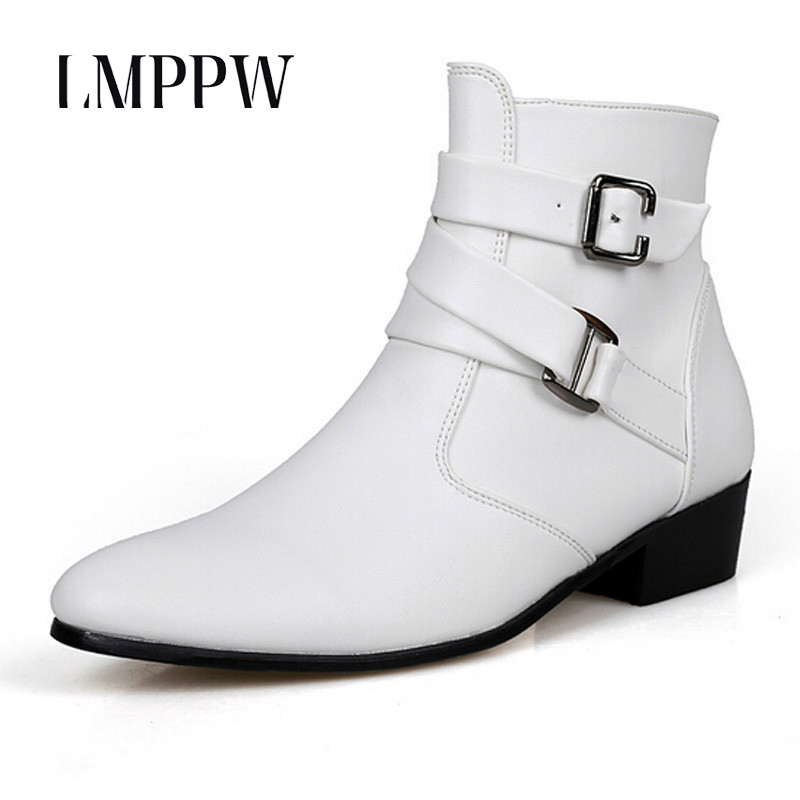 British Style Autumn Winter Men Boots 2017 Fashion Pointy Buckle Ankle Boots Casual Genuine Leather Shoes White Black Brown 3A zunyu new autumn winter men s chelsea boots luxury british style fashion ankle boots black brown blue soft leather casual shoes