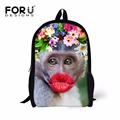 FOR U DESIGNS Children Schoolbags Funny Red Lip Monkey Backpacks 16 Inch Kids School Bags for Teenager Girls Primary School Bags