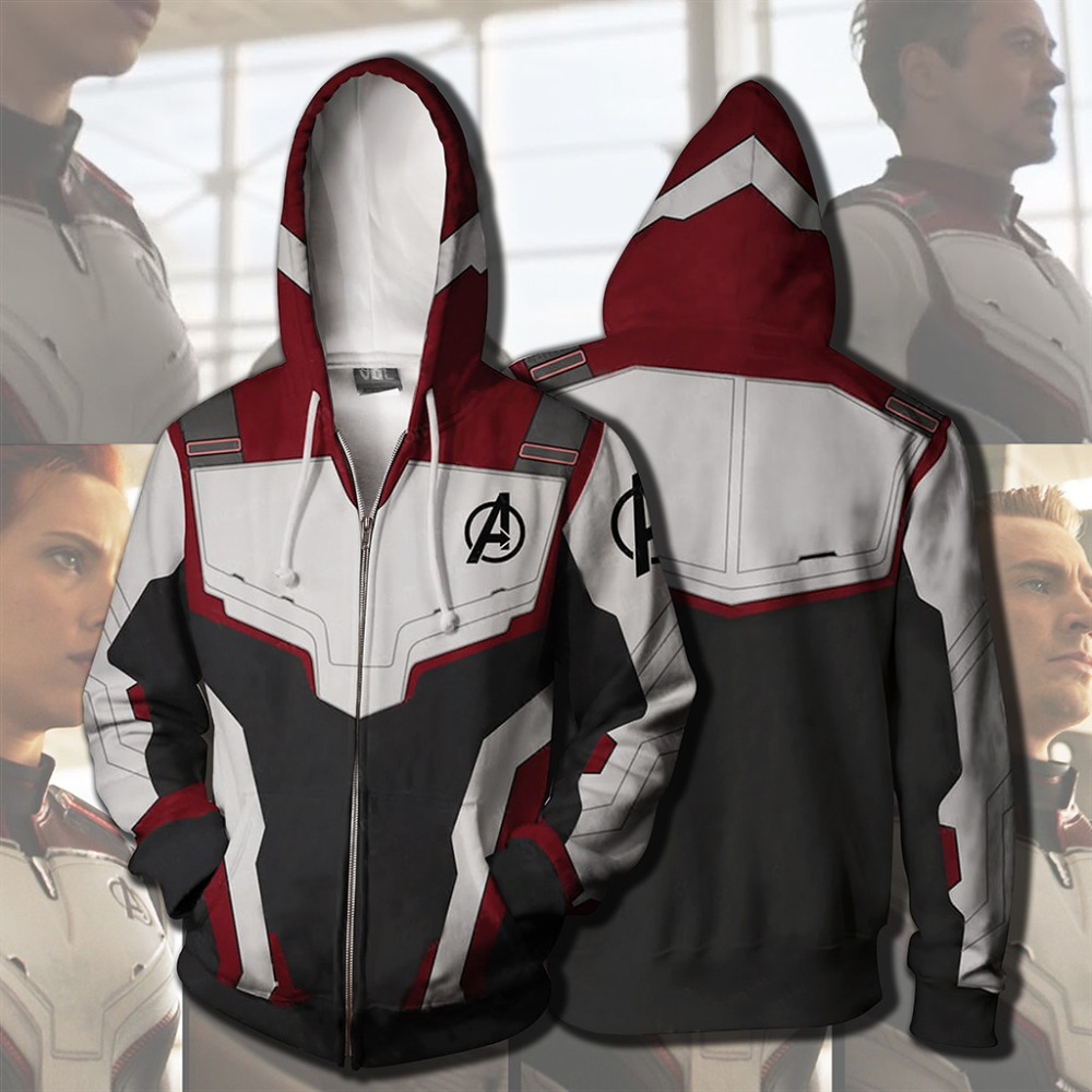 3D Printed Avengers Endgame Quantum Realm Cosplay Costume Sweatshirt Superhero America Captain Marvel Zipper Jacket Hoodie