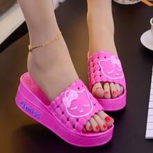 a5f75c731cc59 Verano de las mujeres zapatillas Sandalias lindo animal zapatilla comodidad  transpirable Hola Kitty zapatos cuñas para