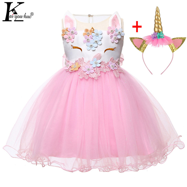 11e7c18fdc9c9 US $4.2 45% OFF|New 2Pcs Unicorn Party Baby Girls Dress 2019 Summer Infant  Party Dresses 1 Year Birthday Dresses For Baby Girls Newborn Clothes-in ...