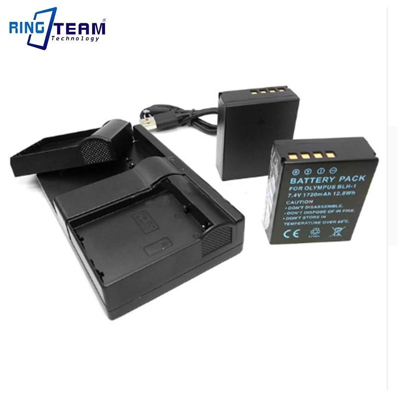 2x BLH-1 BLH1 Battery and 1x Dual USB Charger for Olympus Digital Cameras EM1 MARK II EM1-2 EM1 Mark 2