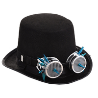 Steampunk Top Hat Women Steam Punk Goggles Fedoras Hat For Men Millinery Steampunk Glasses Party Performing Cap