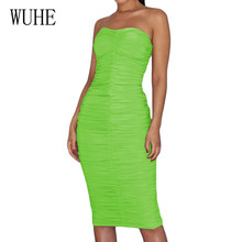 WUHE Sexy Tube Top Bodycon Bandage Pleated Dress Summer New Arrival Off Shoulder Hollow Out Pencil Dress Women Celebrity Wear off shoulder pleated flowy top