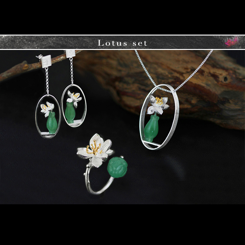 Lotus Fun Real 925 Sterling Silver Natural Chalcedony Handmade Fine Jewelry Flower Lotus Whispers Jewelry Set for Women Bijoux