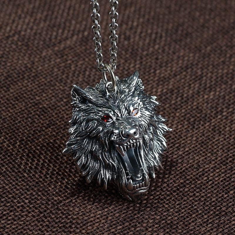 FNJ 925 Silver Wolf Pendant Punk Animal Hang Original Pure S925 Thai Silver Pendants for Women Men Jewelry Making