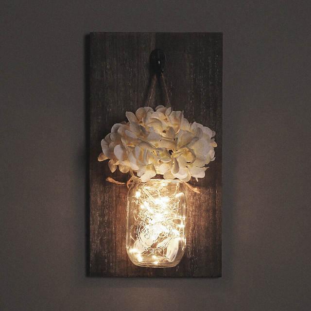 светодиодный Mason Jar стеклянная настенная лампа подвесной светильник с китайские фонарики веревка спальня гостиная декор для дома ресторана