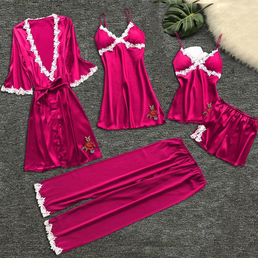 Women   Pajama     Sets     pajamas   nightgown Silk sleepwear for women's Underwear Robes babydolls   pajamas     set   5pcs   pajamas   lingerie 2019