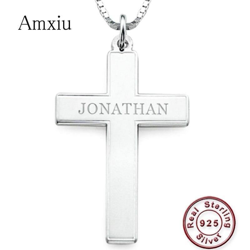 Amxiu fait à la main 925 en argent Sterling croix collier ras du cou personnaliser nom collier pour hommes femmes bijoux chrétiens cadeau de noël