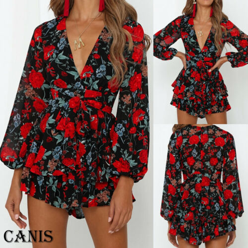 Women V Neck Floral Long Sleeve Jumpsuit Mini Playsuit Casual Beach Romper