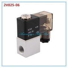 """DC12V DC24V AC110V AC220V 2 порта 2Pos 1/"""" BSP нормально закрытый нейтральный Электрический пневматический Соленоидный клапан катушка 2V025-06"""