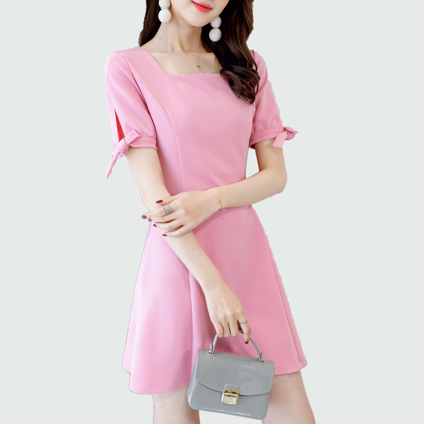 Summer Women Square Collar Short Sleeve Mini Dress 2018 New Black / Pink / Armygreen Party Casual Elegant Office Lady Vestidos