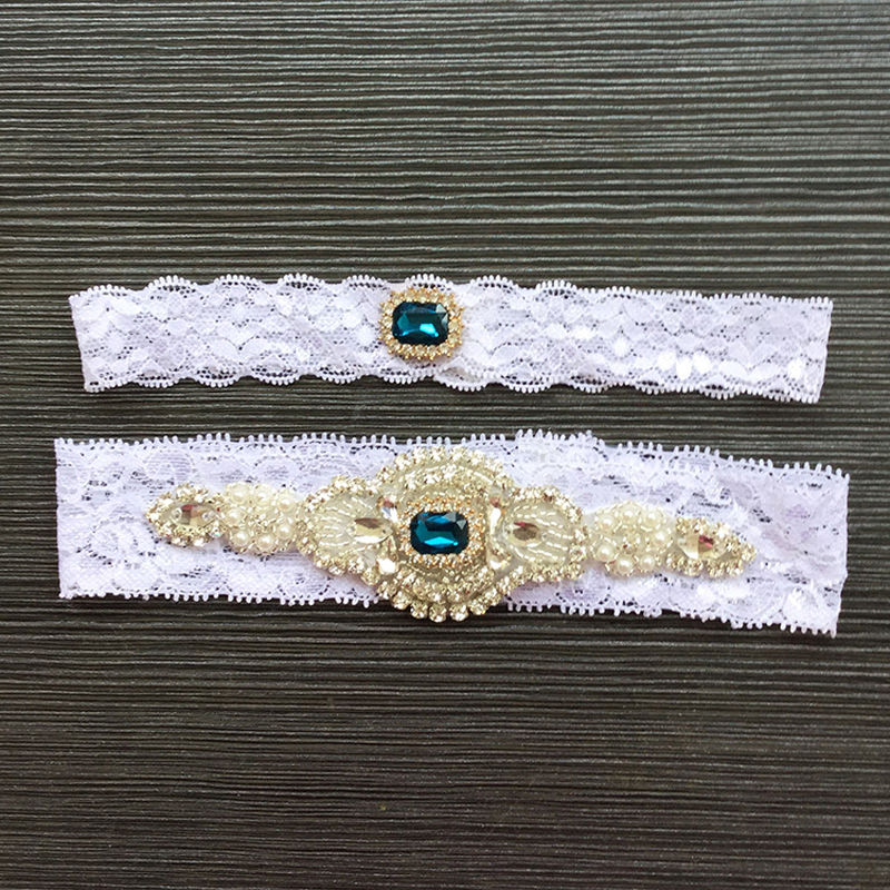 2Pcs/set Wedding Bride Garter Lace Rhinestone Pearl Women