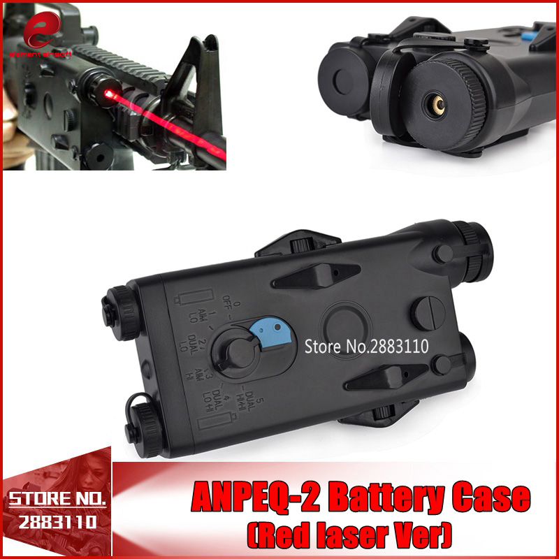 Airsoft Tactical AN PEQ-2 Battery Case Box Red laser Ver for 20mm Rails No Function L100mm*W65mm*H20mm PEQ Box EX426