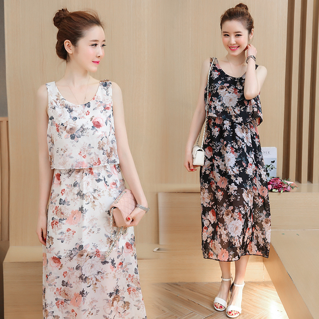 16d0e33767764 8031# Floral Printed Chiffon Maternity Nursing Sundress Summer Boho Beach  Long Breastfeeding Dress Clothes for Pregnant Women