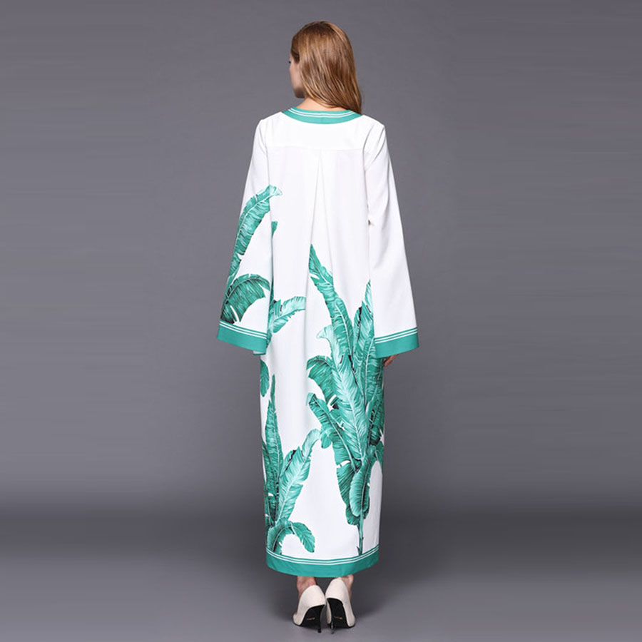 19a19efb45 Luźne sukienki moda 2018 jesień zima panie na co dzień Topshop biały liść  druku podział krótkie Vestido długa sukienka z długim rękawem w Luźne  sukienki ...