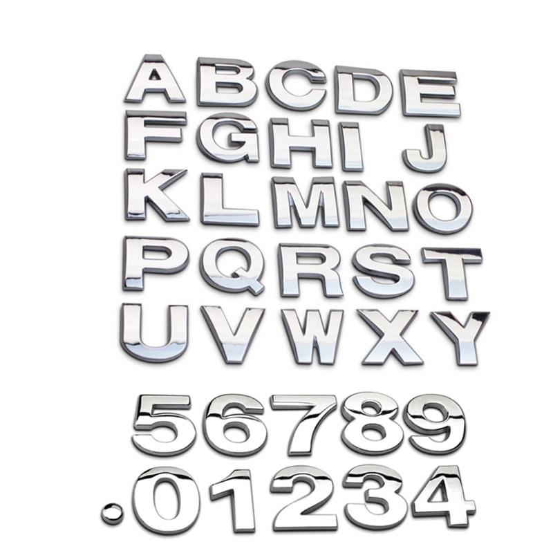 Высокое качество 3D-металла DIY английская буква номеров автомобиля наклейки наклейки эмблема логотип значок для авто внедорожник грузовик мотоцикл