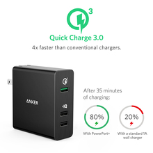 Anker Quick Charge 3.0 42W 3-Port USB Wall Charger PowerPort3 for Galaxy S7/S6/Edge/Plus Note 5/4  PowerIQ for iPhone iPad More