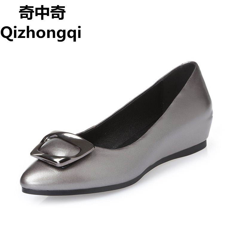 2017 spring genuine leather women's  shoes slope with the side buckle fashion shallow mouth comfort plus size 35-43 # Peas shoes the black eyed peas the black eyed peas the beginning 2 lp