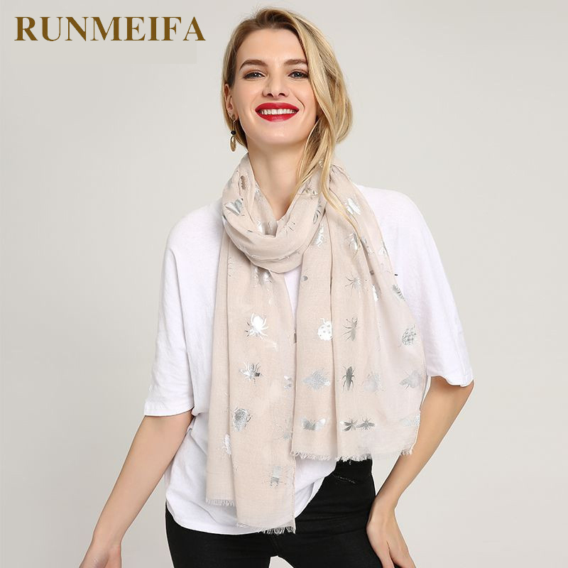 [RUNMEIFA] Newly Women Cute Silver insect Pattern Print Scarf Femme Headscarf Shawls Lightweight Long Scarves Wraps 70*180CM