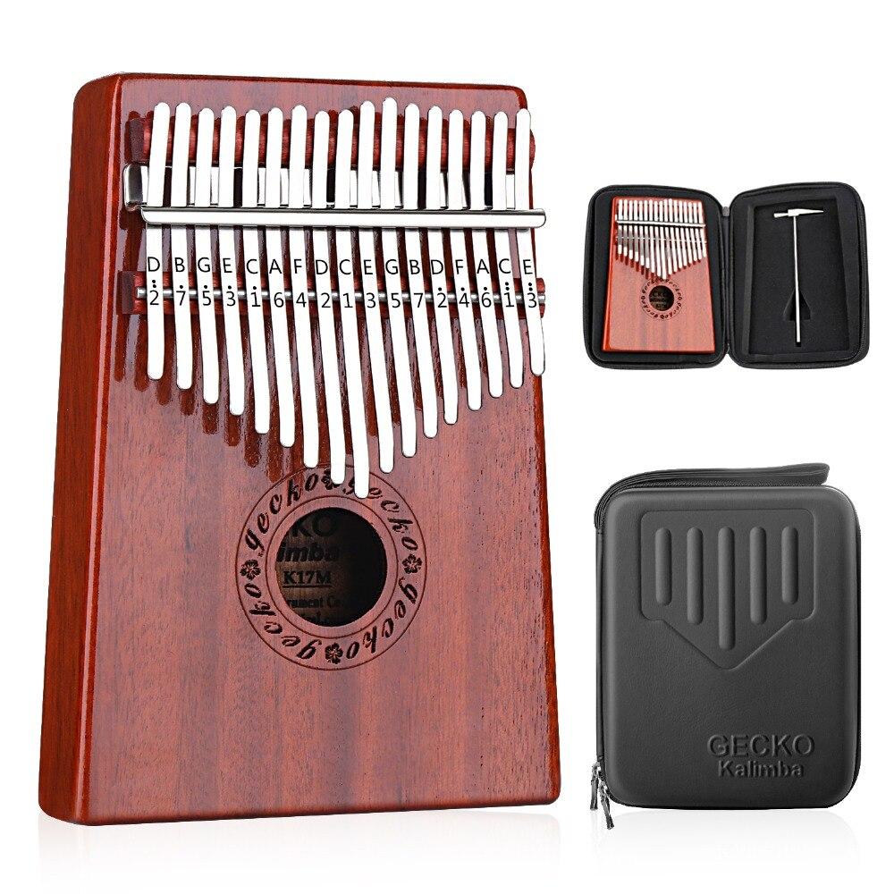 GECKO Kalimba 17 Keys Thumb Piano builts-in EVA Высокоэффективная защитная коробка, настройка молотка и инструкция по учебе. K17MBR