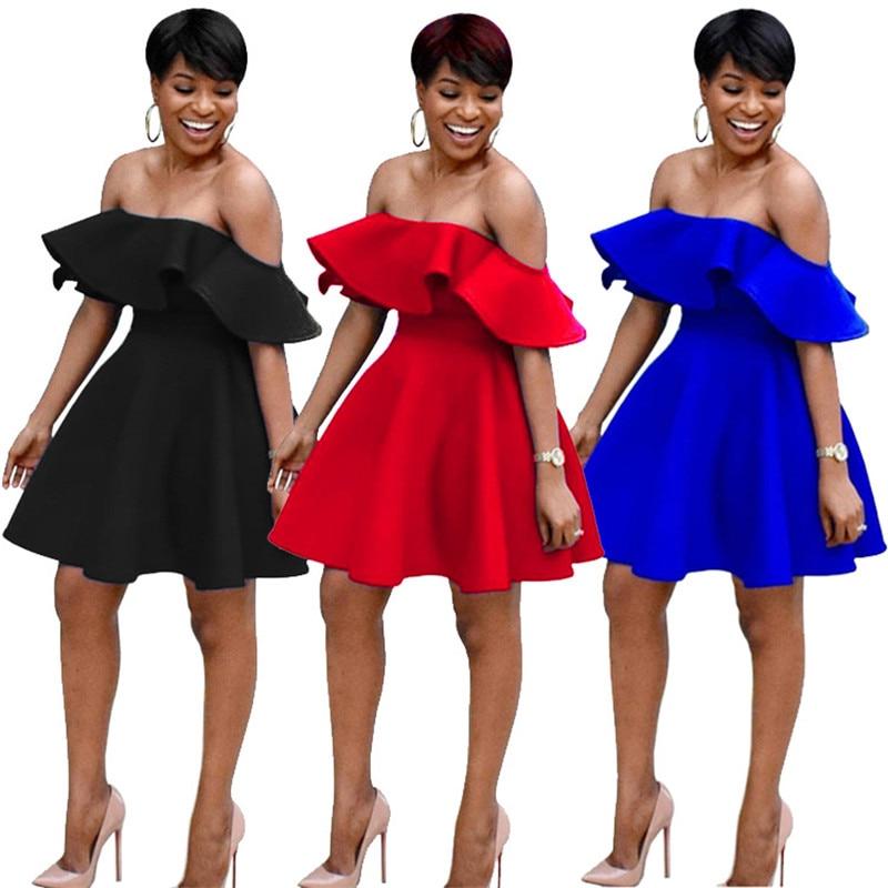 Us 19 89 45 Off Slash Neck Y Summer Dresses Women The Shoulder Ruffle Short Mini Dress 21st Birthday Banquet Elegant A Line Party In
