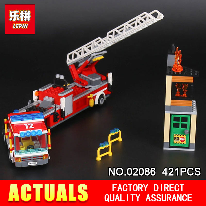 Lepin 02086 421PCS Gneuine City Series The Firetruck Set Building Blocks Brick toys Educational Model for Children Holiday gifts a toy a dream lepin 24027 city series 3 in 1 building series american style house villa building blocks 4956 brick toys