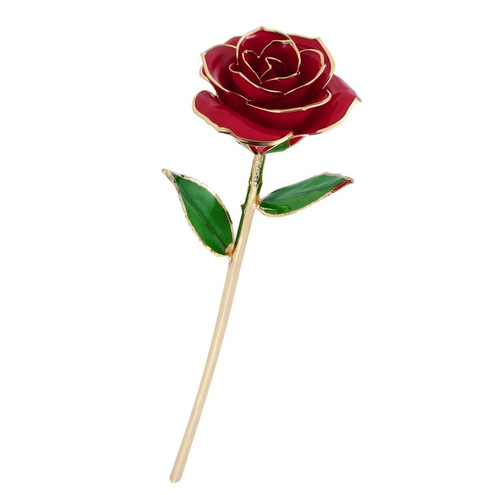Love Forever Long Stem Gold Foil Trim Craft Decorating Rose Flower for Valentine's Day/Mother's Day/Anniversary/Birthday