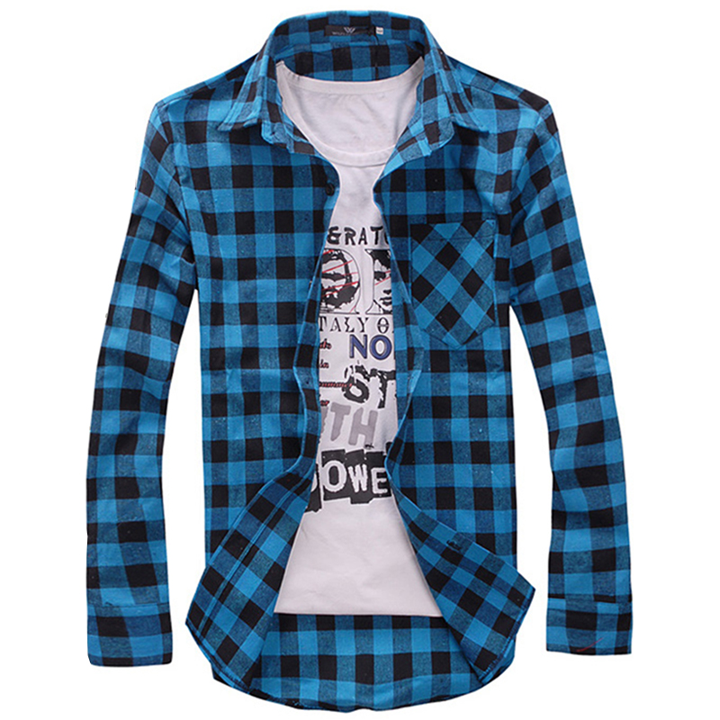 b05f69c8fa1 Plaid Shirts Men s Shirt Social Spring Slim Casual Long Sleeve Chemise  Homme Flannel summer style Camisa Masculina MZ162