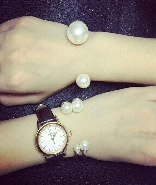 Luxe ouverture taille coquille perle femmes Bracelets Bracelets mode chaude couleur or trois pièces ensemble Bracelets marque bracelet - 3