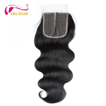 XBL HAIR Peruvian Hair Body Wave Lace Closure Middle Part 100 Remy Human Hair Natural Color